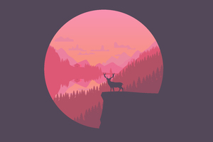 Deer On Cliff Minimal 8k Wallpaper