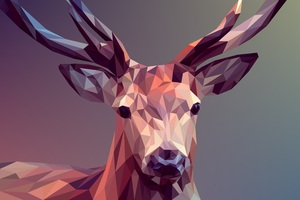 Deer Polygon Art 8k