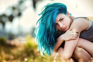 Delaia Gonzalez Blue Hairs 4k Wallpaper