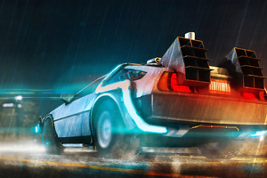 Delorean Cyberpunk Car 4k