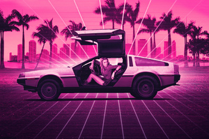 Delorean Retrowave Amber Heard Wallpaper