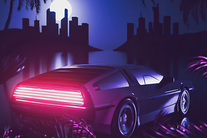 Delorean Retrowave Miami Wallpaper