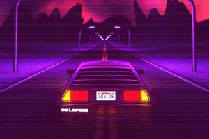 Delorean Synthwave 4k