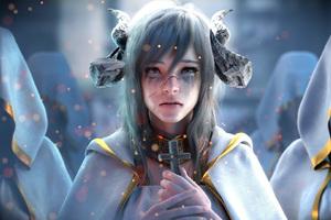 Demon Girl Orange Eyes