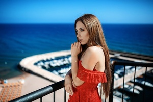 Depth Of Field Girl Long Hair Model Red Dress