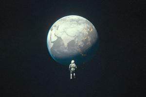 Desaturated Earth Astroanut 4k Wallpaper