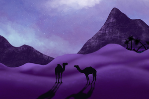 Desert Camels Minimal 5k Wallpaper