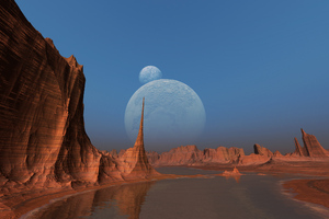 Desert Dark Reflection 3d Art Wallpaper