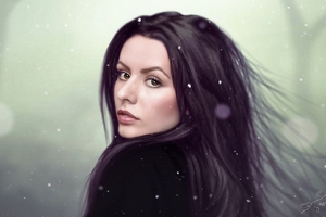 Digital Art Women Long Hair Drawing Face Brown Eyes Wallpaper
