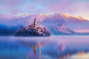 Digital artist Land Water Mountains Lake Slovenia Wallpaper