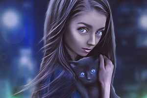 Digital Girl With Cat