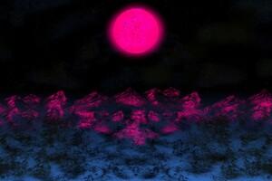 Digital Purple Night Moon Wallpaper