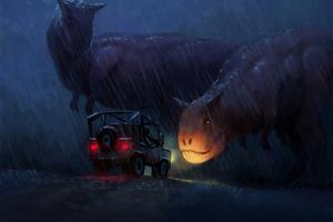 Dinosaur Stoping The Car