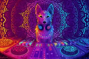 Disco Dingo Dog Wallpaper