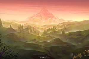 Distant Mountain Digital Art