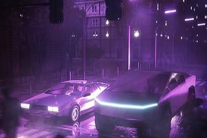 Dmc Delorean And Tesla Cybertruck Neon Life