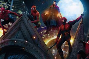 Doctor Strange Dareveil And Spidermans In Spider Man No Way Home 4k Wallpaper