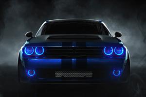 Dodge Challenger Angel Blue Lights 4k Wallpaper