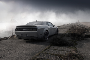 Dodge Challenger Demon SRT 4k Rear Wallpaper