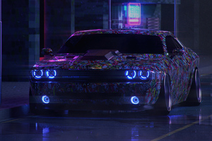 Dodge Challenger On Street Neon 5k Wallpaper