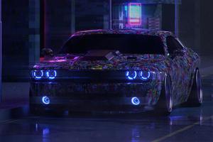 Dodge Challenger On Street Neon 5k