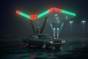 Dodge Challenger RT At Neon Gas Station Wallpaper