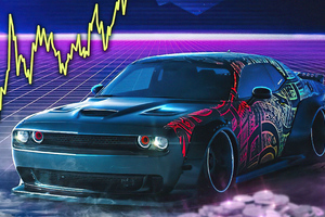 Dodge Challenger Srt Retro Waves 4k