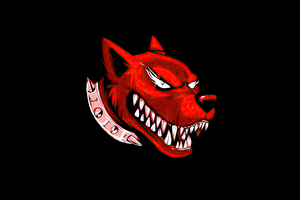 Dog Angry Red Minimal 4k Wallpaper