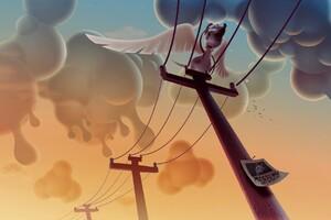 Dog Clouds Wings Humor Illustration Wallpaper
