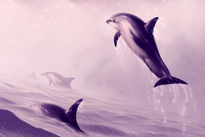 Dolphin Jumping Out Of Water Digital Art Wallpaper