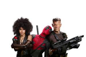 Domino Deadpool And Cable In Deadpool 2 Wallpaper