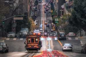 Down Hill Road Traffic Vehicles 4k Wallpaper
