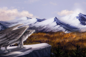 Dragon Feral Landscape Fantasy Mountain Art 5k Wallpaper