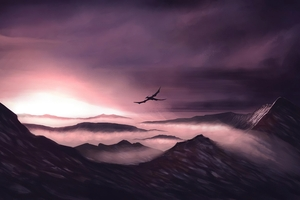 Dragon Flying Over The Mountains 4k
