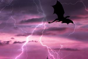 Dragon In Sky Lightning 5k