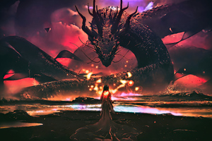 Dragon Master Warrior Girl Wallpaper