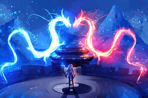 Dragon Red Blue Colorful Art 4k Wallpaper