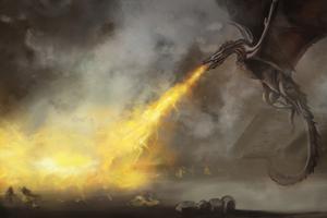 Dragon Throwing Flame 4k