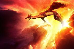 Dragon Throwing Flame Art 4k