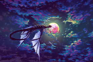 Dragon Towards Parallel Sky 4k