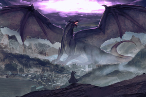 Dragon Warrior Fantasy Digital Art 4k