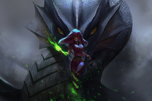 Dragon With Girl 4k