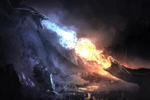 Dragons Fight Game Of Thrones Season 8 Wallpaper