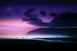 Dreamy Beach Sky Island Ocean Evening Wallpaper