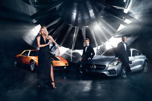 Dree Hemingway And Lewis Hamilton For Mercedes Benz