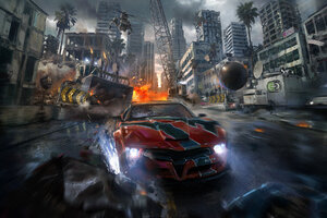 Drifting Car Chasing By Helicopter Artwork Wallpaper