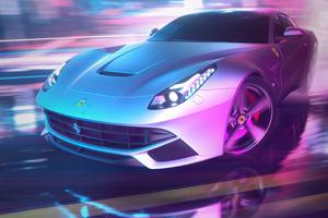 Drifting Ferrari Neon Streets 4k Wallpaper
