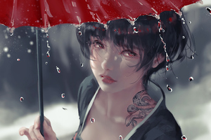 Drizzle Anime Girl With Umbrella