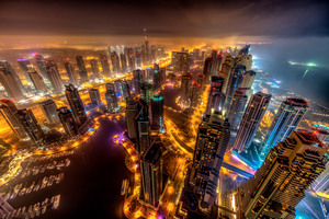 Dubai Buildings Night Lights Top View 8k
