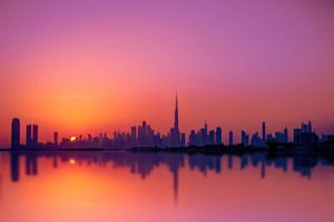 Dubai City Silhouette 5k Wallpaper